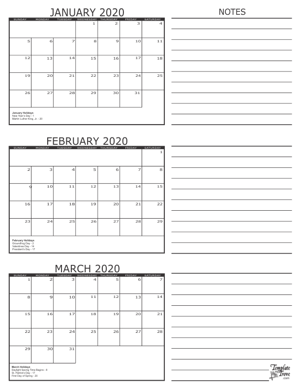 January February March 2020 Calendar Printable