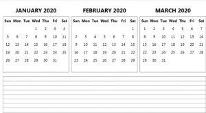 January February March 2020 Calendar Template