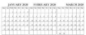 January February March Calendar 2020