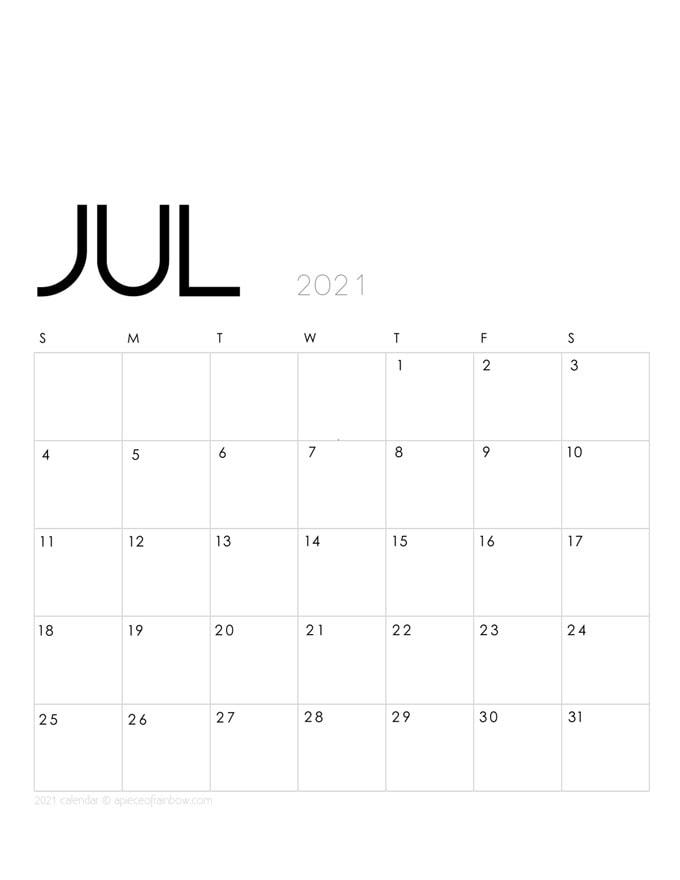 July 2021 Calendar monthly planner