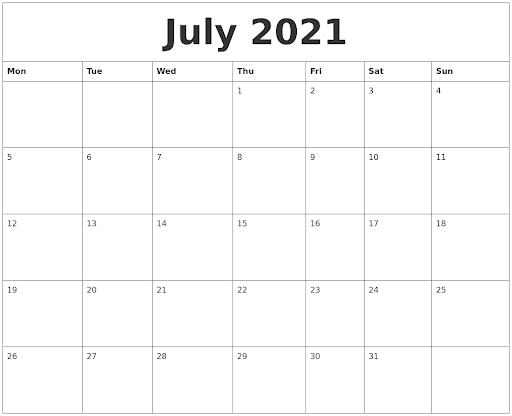 July Calendar 2021 Large Image