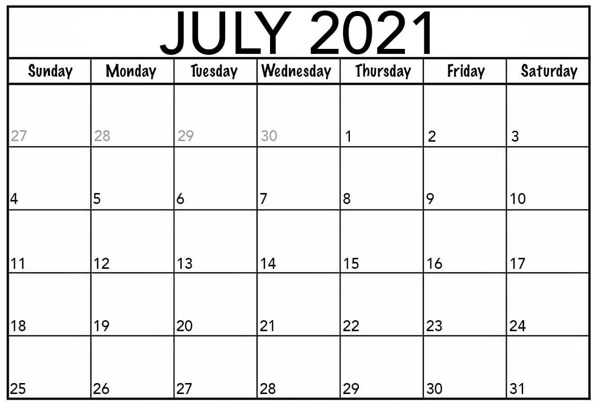 July Monthly Calendar Printable 2021