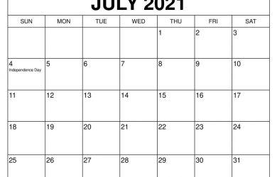 July printable calendars 2021 template