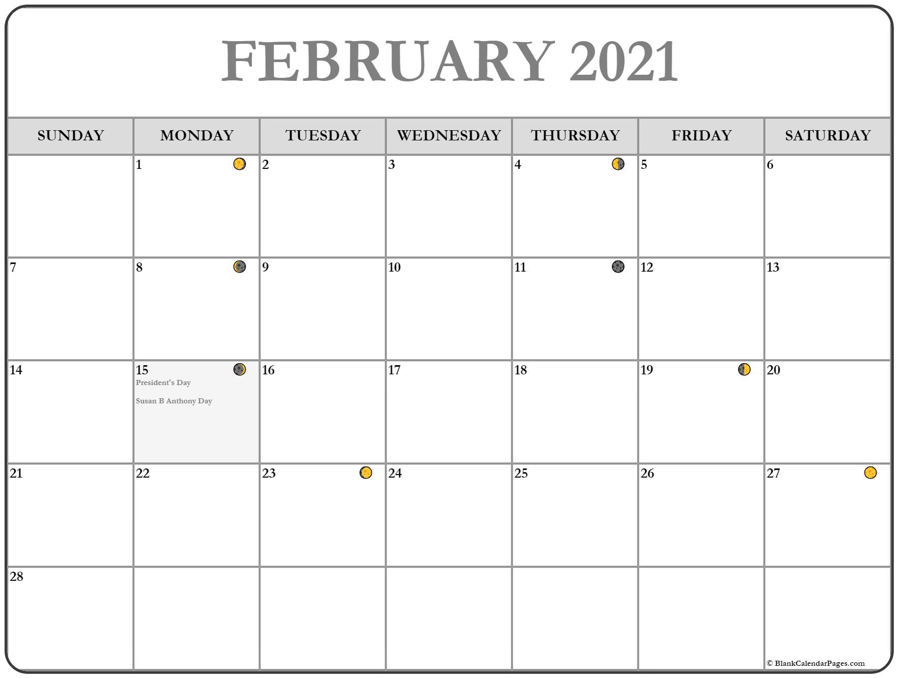 February 2021 calendar moon phases printable