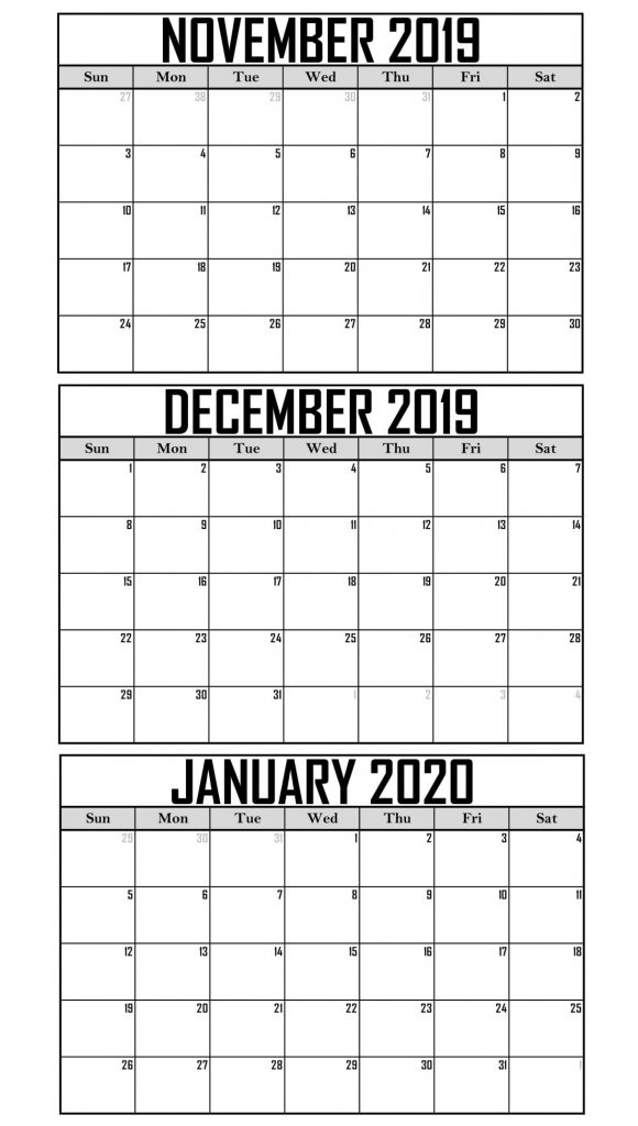 November 2019 To January 2020 Calendar Printable