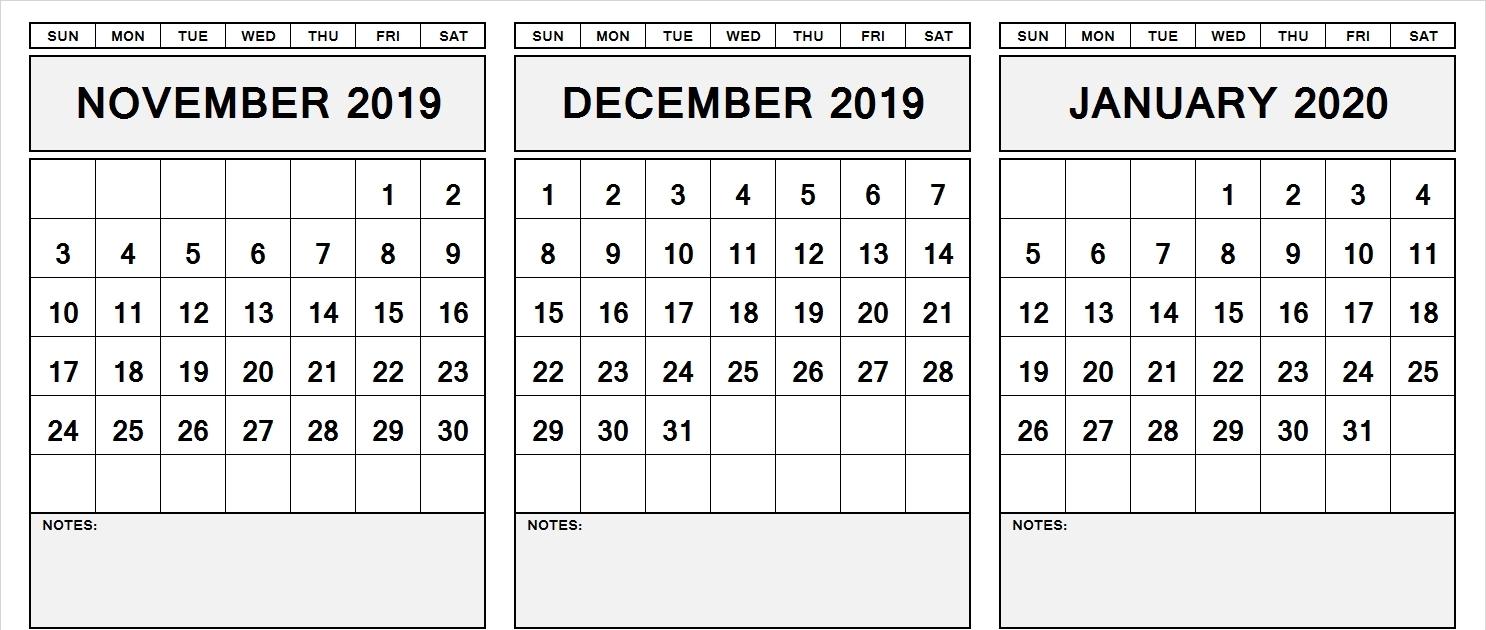 November 2019 To January 2020 Calendar