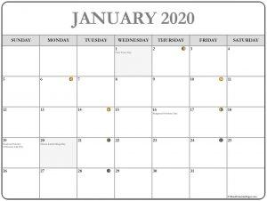 Printable January 2020 Moon Calendar