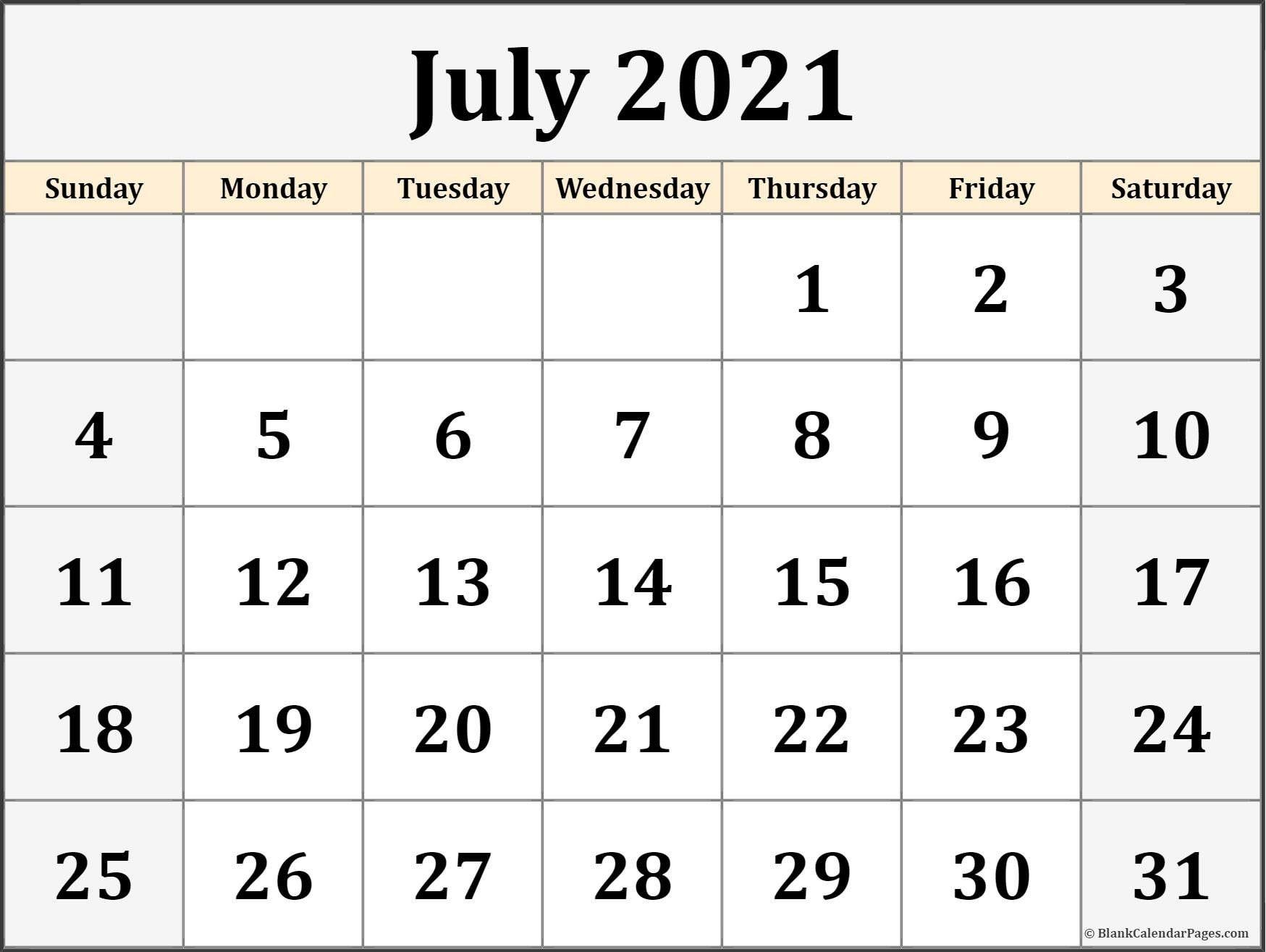 Printable July Calendar 2021 Blank Template
