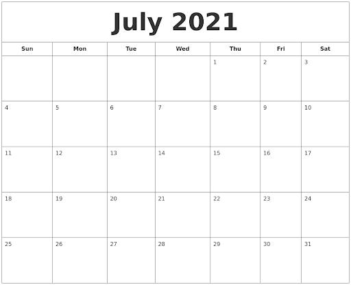 july 2021 printable calendar blank