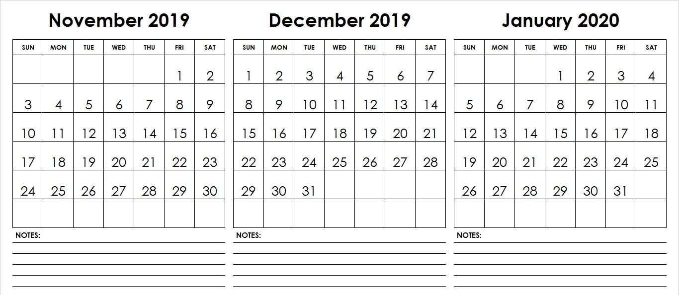 november December January 2020 Calendar