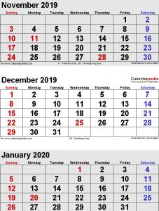 november December January Calendar 2020