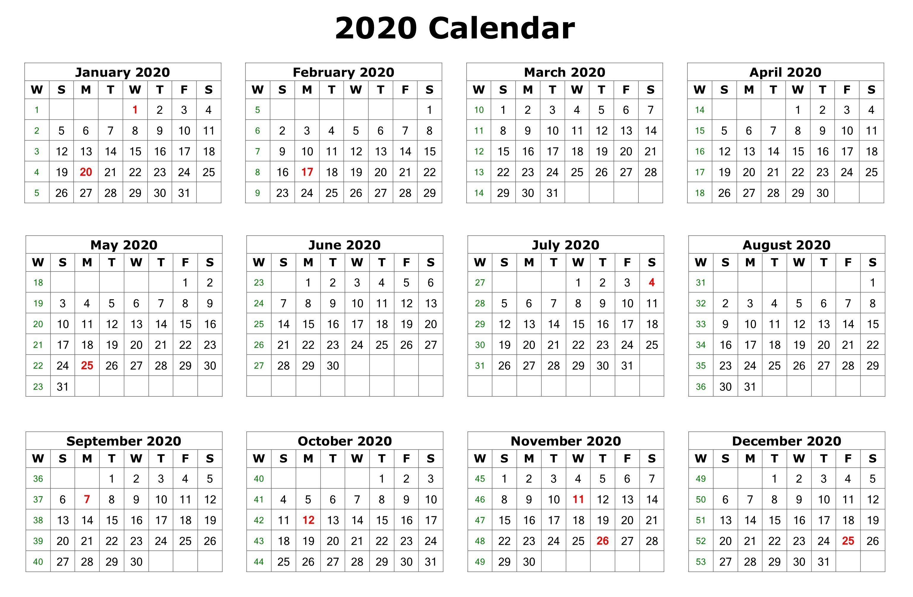 12 month 2020 calendar printable