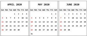 Apr May June 2020 Calendar Template