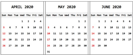 Apr May June 2020 Calendar Template