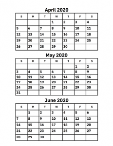 April May June 2020 Calendar