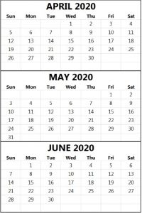 April May June 2020 Calendar PDF Word Excel