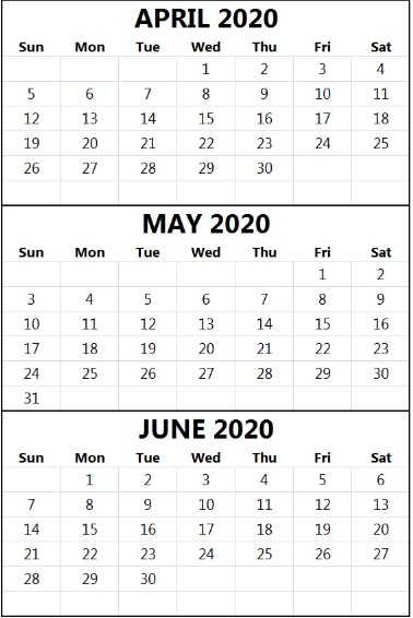 April May June 2020 Calendar PDF Word Excel