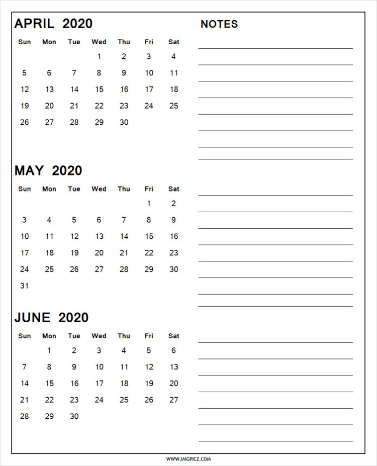 April May June 2020 Calendar Printable
