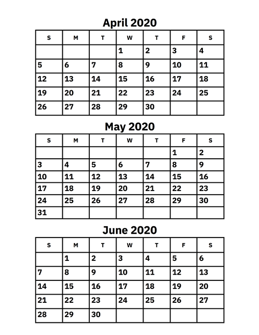 April May June 2020 Calendar