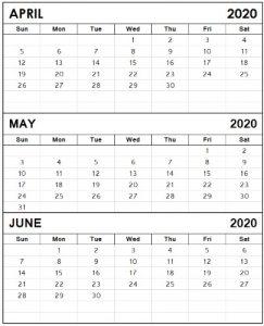 Calendar April May June 2020 3 month