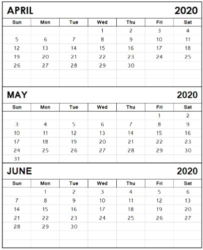 Calendar April May June 2020 3 month