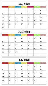 3 Month May June July 2020 Calendar