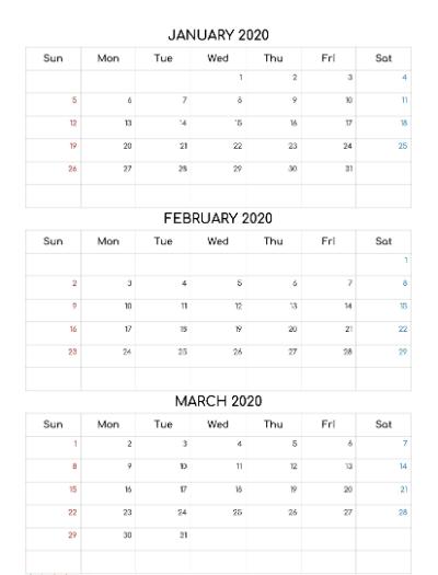 2021 January February March Calendar