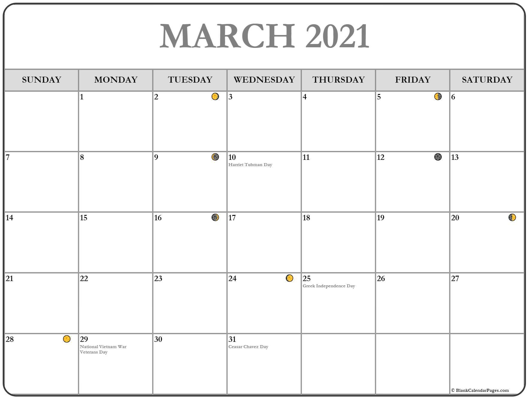 March 2021 Lunar Calendar