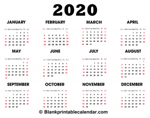 Monthly 2020 Calendar Template
