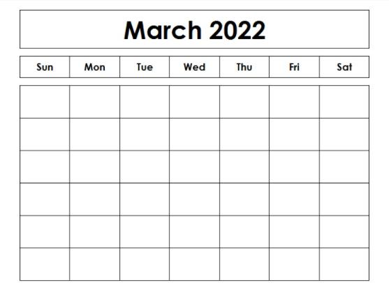 Blank March 2022 Fillable Calendar