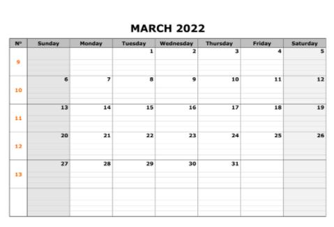 Download Printable March 2022 Calendar