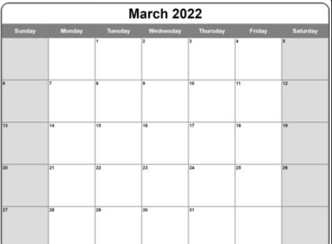 Fillable Calendar 2022 March Template