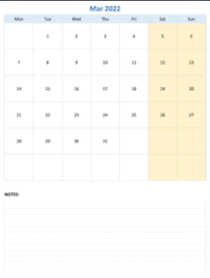 Fillable March Calendar 2022 with Notes