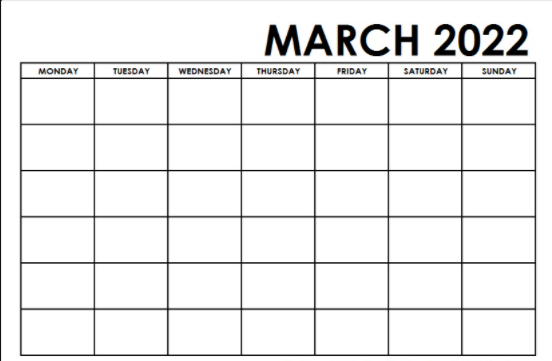 March 2022 Calendar Fillable Space Template