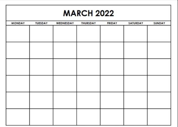 March 2022 Calendar Fillable Template