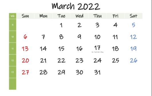 March 2022 Calendar PDF Word Excel