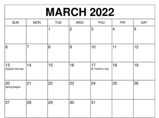March 2022 Calendar Printable PDF Word Excel Download