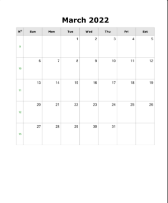 March 2022 Fillable Template