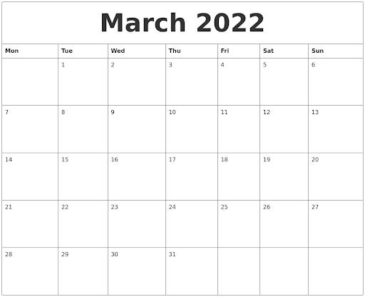 March 2022 Printable Calendar Free