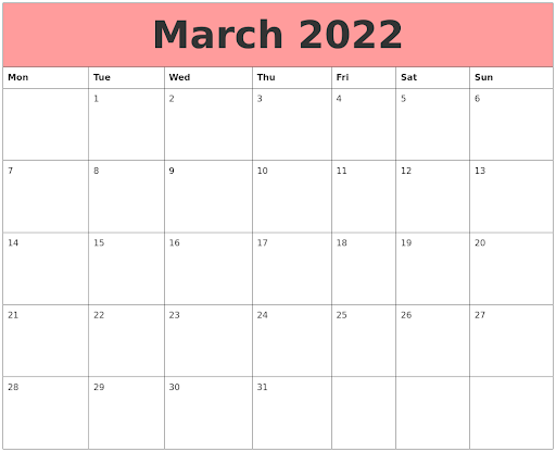 Monthly Free March 2022 Calendar