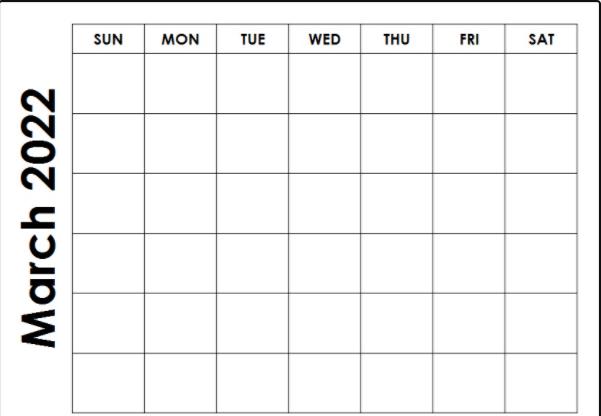 Printable Blank March 2022 Calendar Fillable