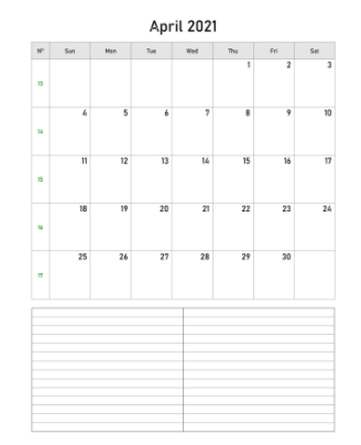 April 2021 Calendar with space (vertical) to print