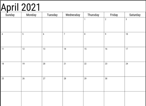 April 2021 Large Printable Calendar