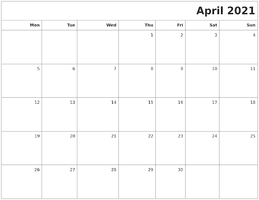 April 2021 Printable Blank Calendar (Word, Excel, Landscape)