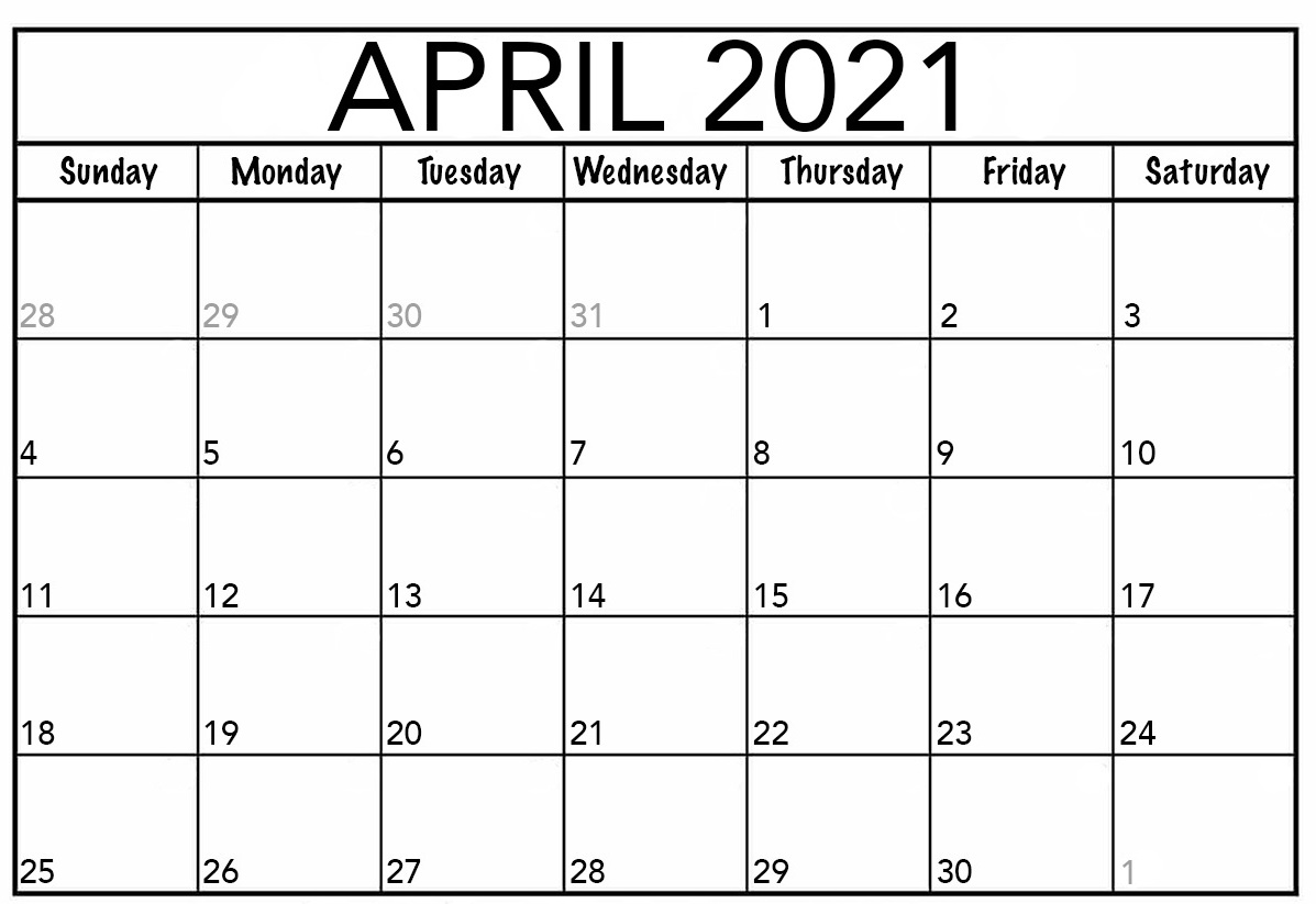 April 2021 Printable Calendar PDF Monthly WorkSheets