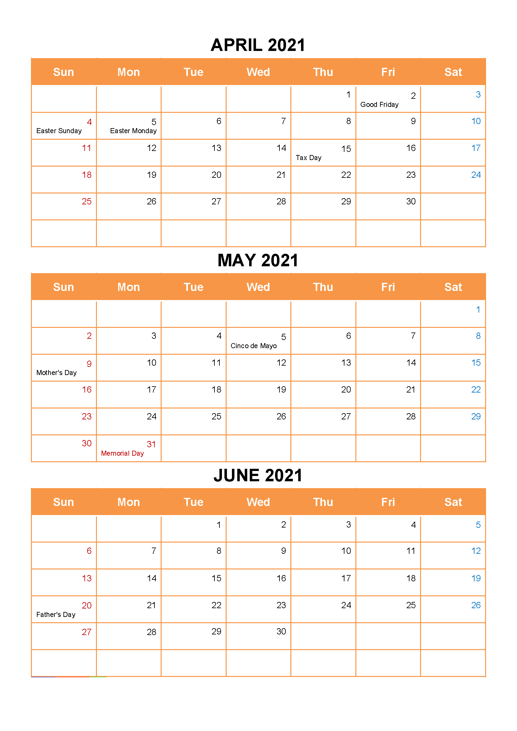 April May June Calendar 2021