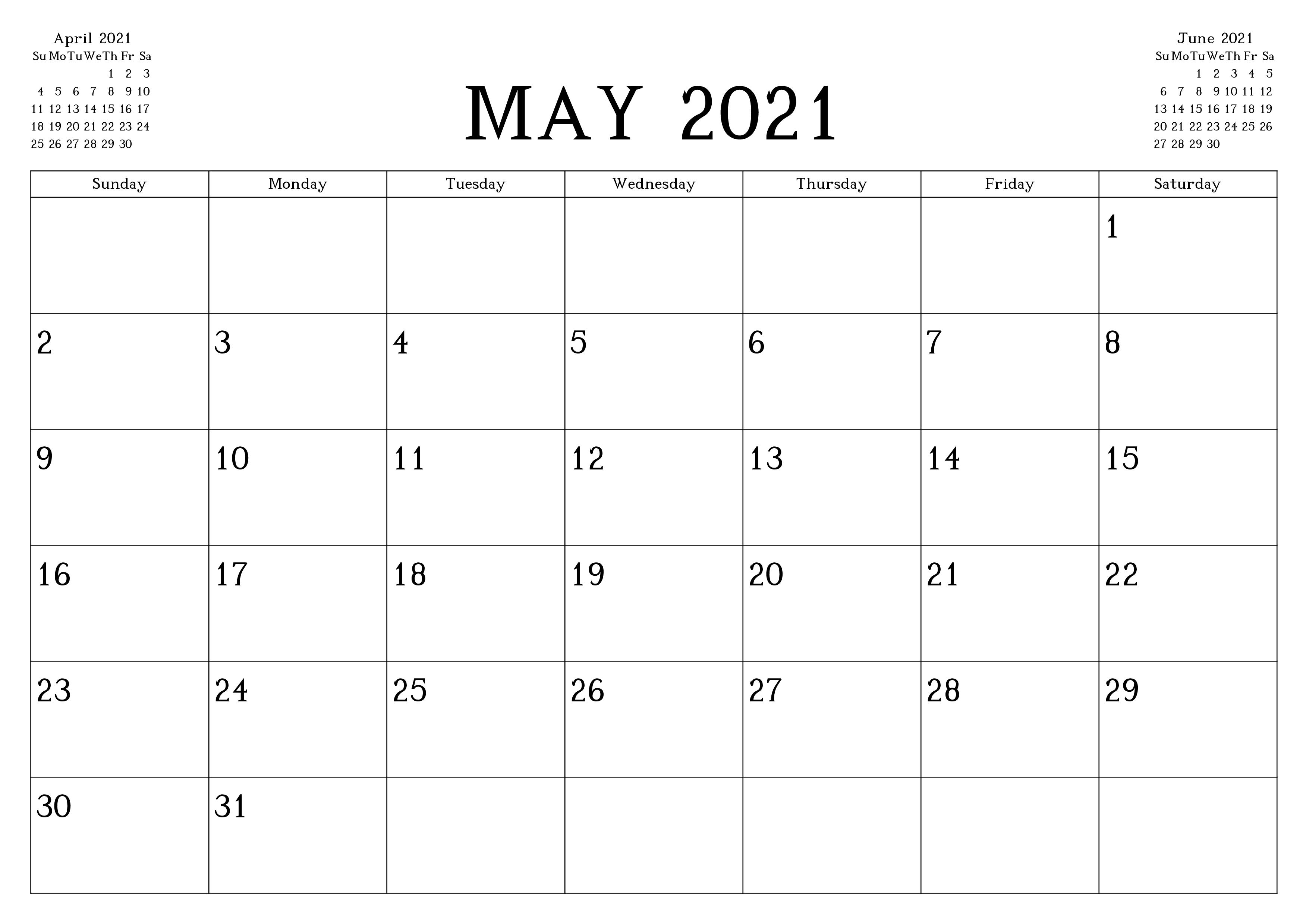 Blank Calendar For May 2021