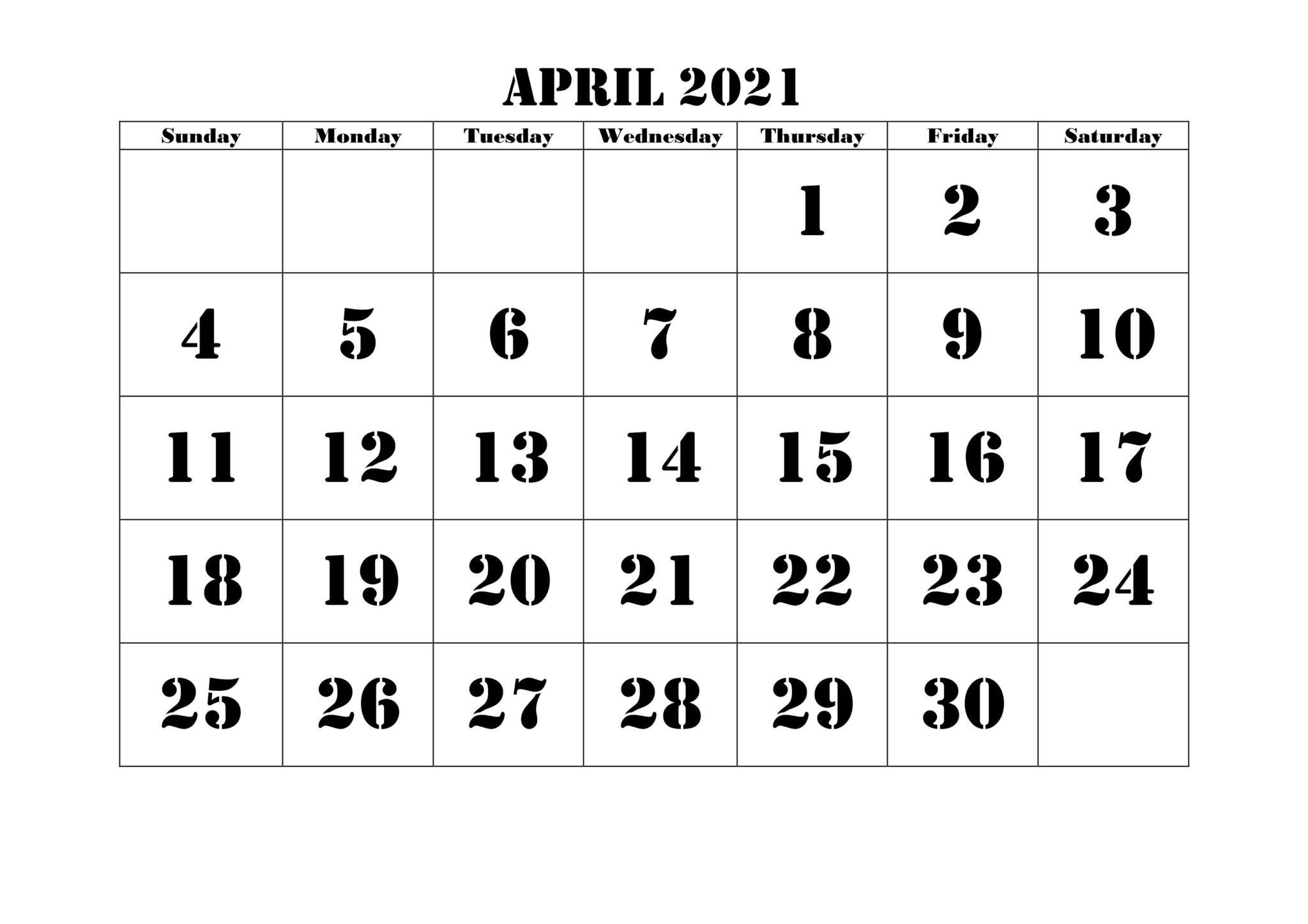 Calendar 2021 April Month