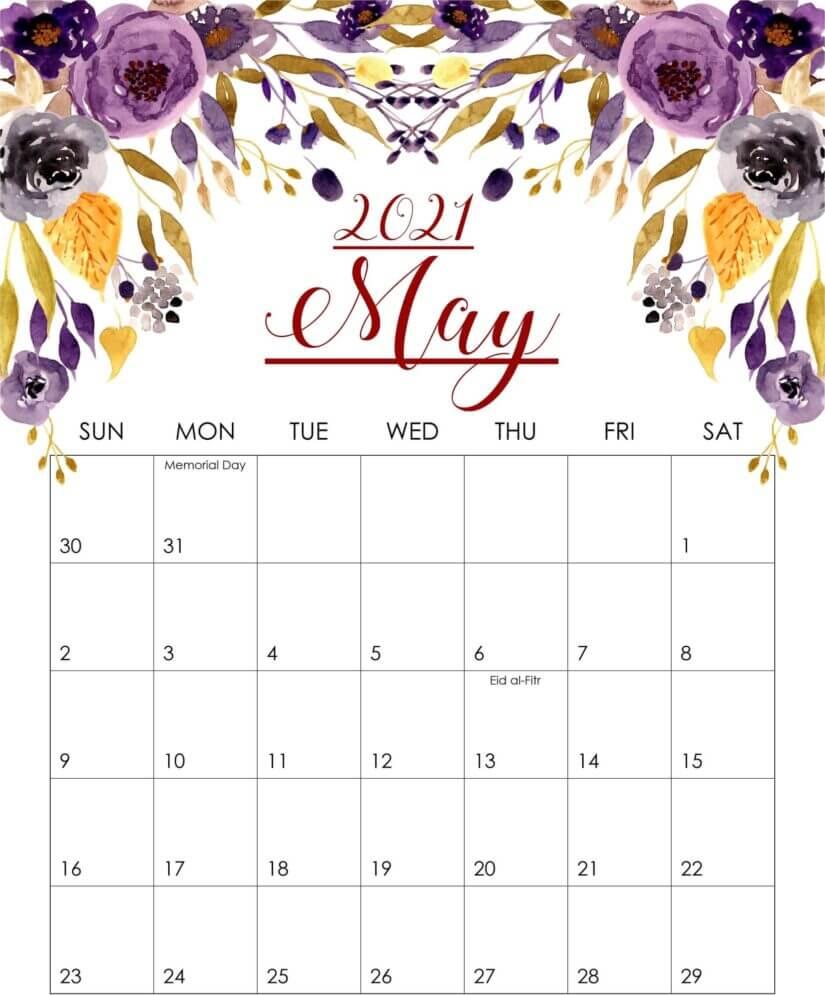 Floral May 2021 Cute Calendar
