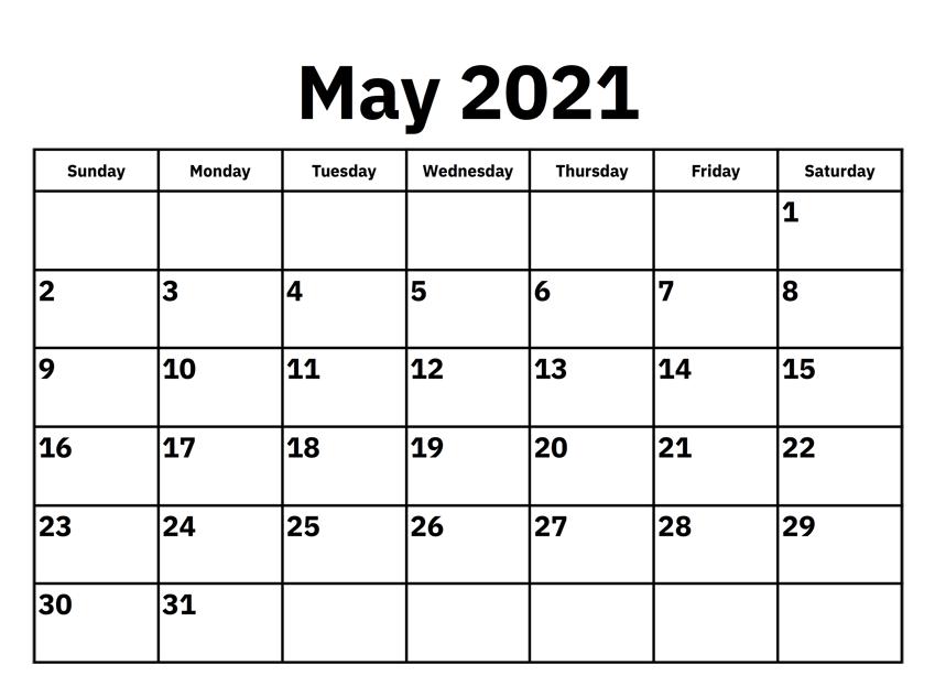 Free May Calendar 2021 Download